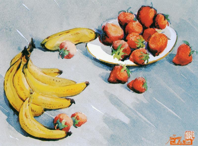 水彩香蕉步骤图